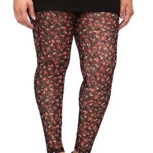Torrid size 1 Capri lace women's rose leggings